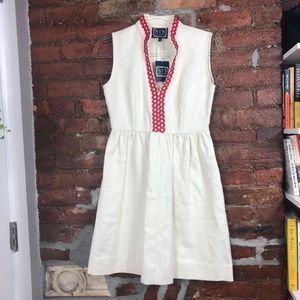 Sail to Sable Linen Embroidered Fit & Flare Dress